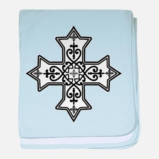 Black and White Coptic Cross baby blanket