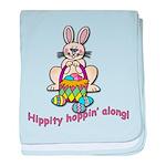 Hippity Hopping Along Easter Bunny baby blanket