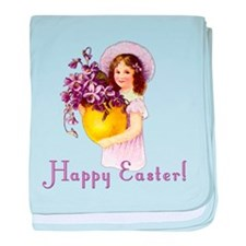 Happy Easter with Violets baby blanket