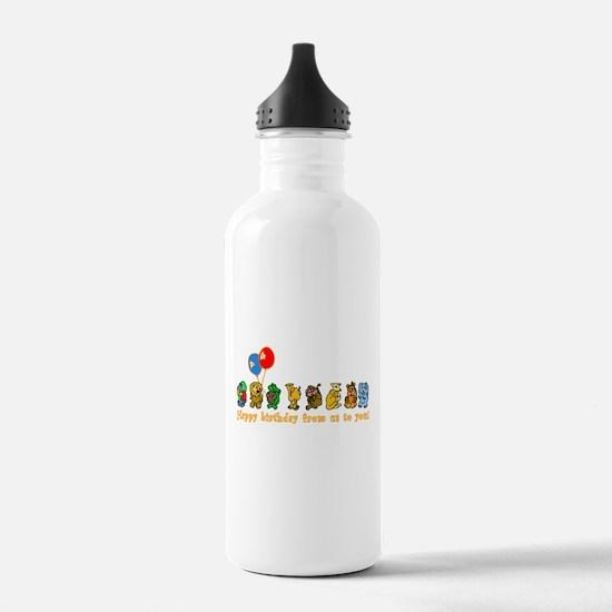 Zoo Animals Happy Birthday Sports Water Bottle