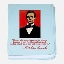 Abe Lincoln FREEDOM Quote baby blanket