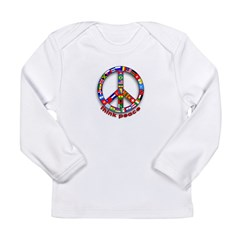 Think Peace with Flags Long Sleeve Infant T-Shirt