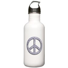 Marble Texture Peace Sign Water Bottle