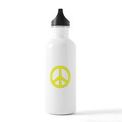 Yellow Peace Symbol Water Bottle