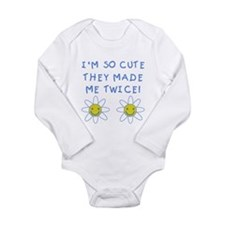 So Cute Made Twice TWINS Long Sleeve Infant Bodysu