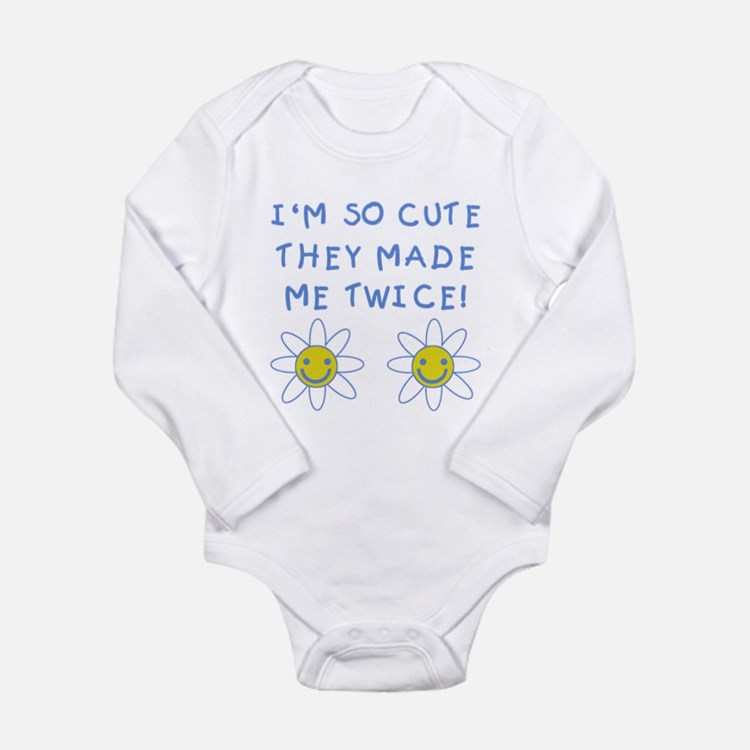 So Cute Made Twice TWINS Long Sleeve Infant Bodysu