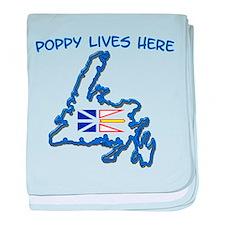 """Poppy Lives Here"" baby blanket"