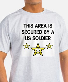 Area Secured by US Soldier Ash Grey T-Shirt