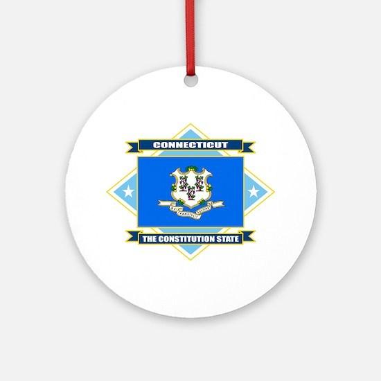 Connecticut Flag Ornament (Round)