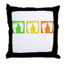 Baby Block Footprint Throw Pillow