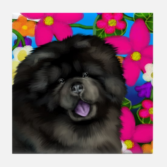 CHOW CHOW DOG FLOWERS Tile Coaster