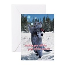 Cat catching snowflakes card Greeting Cards (Pk of