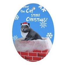Santa Cat Ornament (Oval)