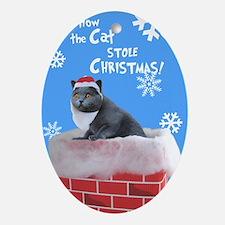 Santa Cat Ornament (Oval)