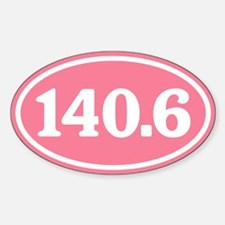 140.6 Pink Triathlon Oval Decal