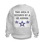 AREA SECURED US AIRMAN Kids Sweatshirt