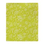 Lime Floral Throw Blanket