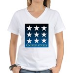United States with 9 Stars Women's V-Neck T-Shirt