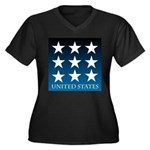 United States with 9 Stars Women's Plus Size V-Nec