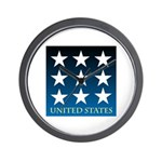 United States with 9 Stars Wall Clock