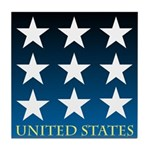 United States with 9 Stars Tile Coaster