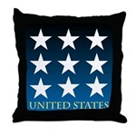 United States with 9 Stars Throw Pillow