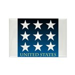United States with 9 Stars Rectangle Magnet (100 p