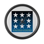 United States with 9 Stars Large Wall Clock