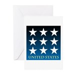 United States with 9 Stars Greeting Cards (Pk of 1