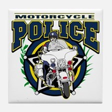 Motorcycle Police Officer Tile Coaster
