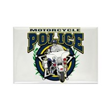 Motorcycle Police Officer Rectangle Magnet