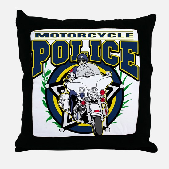 Motorcycle Police Officer Throw Pillow