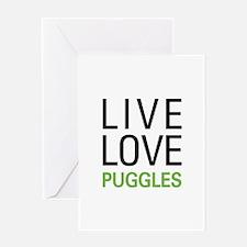 Live Love Puggles Greeting Card