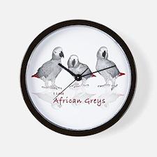 african grey parrots Wall Clock