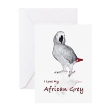 i love african greys Greeting Card