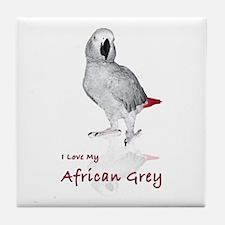 i love african greys Tile Coaster