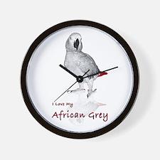 i love african greys Wall Clock