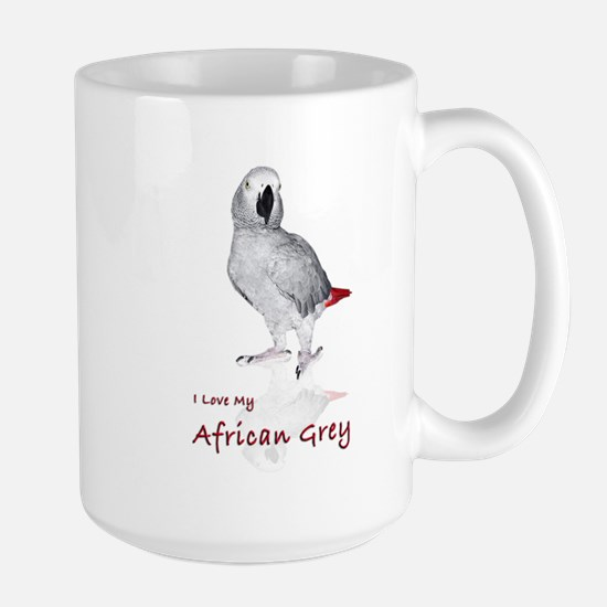 i love african greys Large Mug