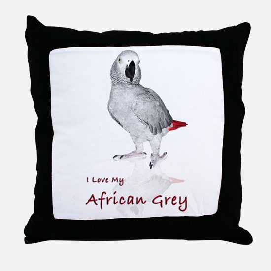 i love african greys Throw Pillow