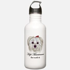 Captioned Maltese Sports Water Bottle