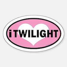 i heart Twilight pink Euro Sticker (Oval)