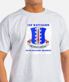 DUI - 1st Bn - 187th Infantry Regt with Text T-Shirt