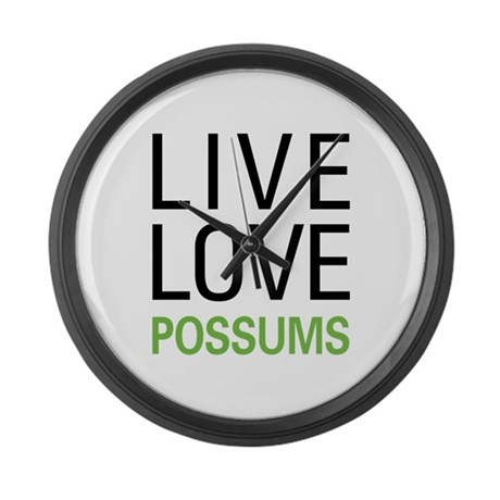 Live Love Possums Large Wall Clock