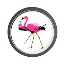 Pink Flamingo Drinking A Martini Wall Clock