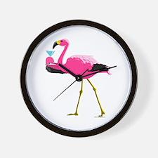 Pink Flamingo Drinking A Martini Wall Clock