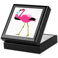 Pink Flamingo Drinking A Martini Keepsake Box