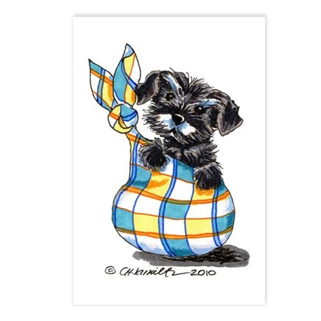 Schnauzer Sack Puppy Postcards (Package of 8)