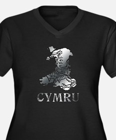 CYMRU MAP Women's Plus Size V-Neck Dark T-Shirt
