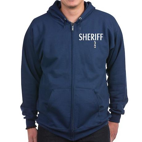 Sheriff K-9 with Dog Tags Zip Hoodie (dark)