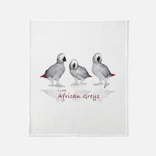 african grey parrots Throw Blanket